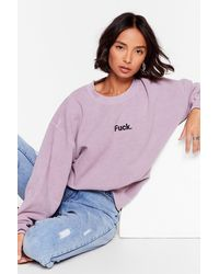 Nasty Gal Ah Fuck Oversized Graphic Sweatshirt - Purple