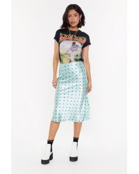 "Nasty Gal ""reign Su-sheen Polka Dot Satin Skirt"" - Blue"