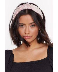 Nasty Gal - Power Pearl Vibes Velvet Headband - Lyst