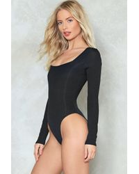 Nasty Gal - What's Your Angle Ribbed Bodysuit - Lyst