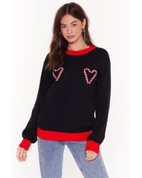 Nasty Gal Candy Cane Here For Love Christmas Sweater - Black