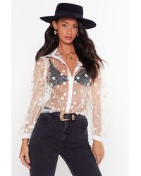 """Nasty Gal """"the Lace Is On Floral Sheer Shirt"""" - White"""