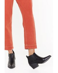 """Nasty Gal """"low Profile Pu Covered Gusset Western Boot"""" - Black"""