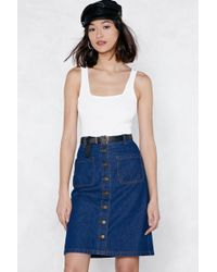 Nasty Gal You're Button To Something Denim Skirt - Blue