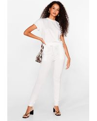 Nasty Gal On Rib-peat Tee And Joggers Set - White