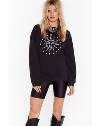 Nasty Gal Here Come The Sun Graphic Sweatshirt - Black