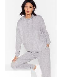 Nasty Gal Lounge Mode Soft Knit Hoodie And Jogger Set - Grey