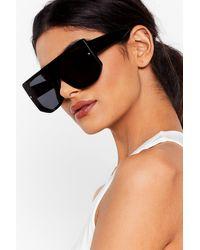 Nasty Gal Tinted Chunky Temple Aviator Sunglasses - Black