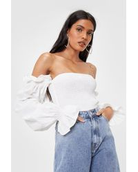 Nasty Gal Shirred Off The Shoulder Puff Sleeve Crop Top - White