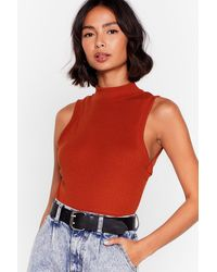 Nasty Gal What The Neck Ribbed Crop Top - Red