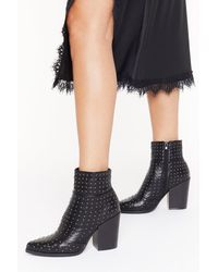 "Nasty Gal ""stud For Nothing Heeled Boots"" - Black"