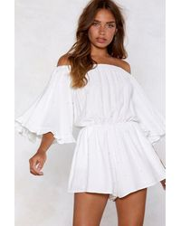 "Nasty Gal ""off-the-shoulder Romper With Elasticized Neckline"" - White"
