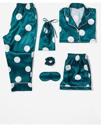 Nasty Gal My Spotlight 6-pc Satin Polka Dot Pyjama Set - Green