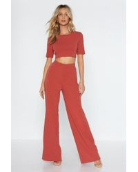 Nasty Gal - Settle The Score Crop Top And Trousers Set - Lyst
