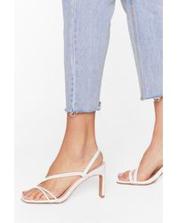 """Nasty Gal """"we're Strappy Together Faux Leather Heels"""" - White"""