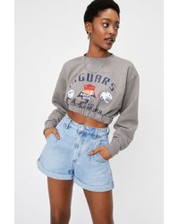 Nasty Gal High Waisted Relaxed Denim Mom Shorts - Blue