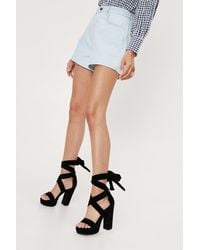 Nasty Gal Lace Up Open Toe Platform Heels - Black