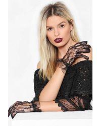 """Nasty Gal """"in Safe Hands Lace Gloves"""" - Black"""
