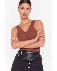Nasty Gal Want On A Night Spike This Studded Fanny Pack - Black