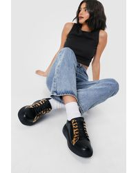 Nasty Gal Leopard Round Toe Chunky Trainers - Black