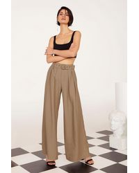"""Nasty Gal """"business As Usual Wide-leg Belted Pants"""" - Brown"""