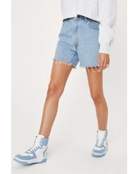 Nasty Gal Mixed Fabric Two Tone High Top Sneakers - Blue