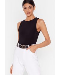 Nasty Gal I'll Have A Double Faux Leather Buckle Belt - Black