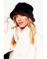 Nasty Gal Let's Head Out Faux Fur Bucket Hat - Black