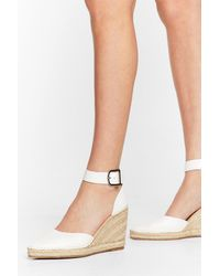 Nasty Gal Faux Leather Pointed Espadrille Wedges - White