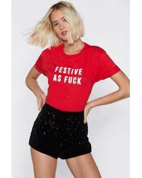 "Nasty Gal - ""fuck The Good Girl List Holiday Tee"" - Lyst"