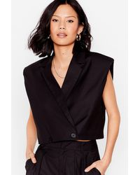 Nasty Gal When It Suits You Shoulder Pad Cropped Blazer - Black