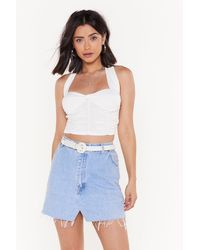 Nasty Gal Never Back Down Ruched Halter Cropped Top - White