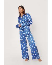 Nasty Gal Recycled Satin Dove Oversized Pyjama Set - Blue
