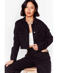 Nasty Gal Smells Like Jean Spirit Cropped Denim Jacket - Black
