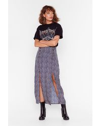 "Nasty Gal ""navy Leopard Slit Skirt With High-waist"" - Blue"