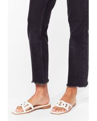 Nasty Gal Take Us Cut-out Faux Suede Flat Sandals - White