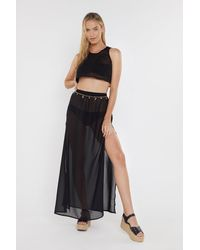 """Nasty Gal """"beach Don't Kill My Vibe Crop Top And Skirt Cover-up Set"""" - Black"""