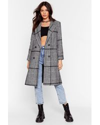 Nasty Gal Ask For The Cheque Check Longline Coat - Black