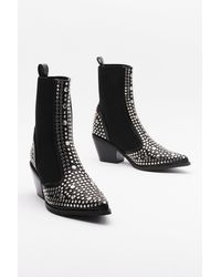 "Nasty Gal ""one Point Perspective Studded Chelsea Boots"" - Black"