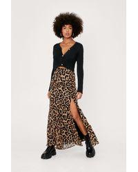 Nasty Gal Leopard Print Chiffon Maxi Skirt - Brown