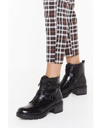"""Nasty Gal """"croc To Go Faux Leather Biker Boots"""" - Black"""