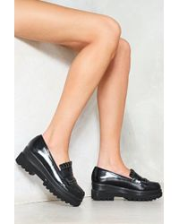 """Nasty Gal - """"dropout Faux Leather Platform Loafer"""" - Lyst"""