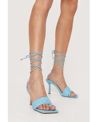 Nasty Gal - Faux Leather Quilted Lace Up Heels - Lyst