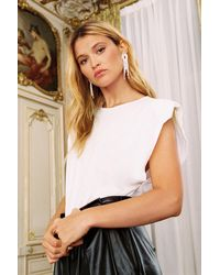 Nasty Gal Chip On Your Shoulder Pad Tank Top - White
