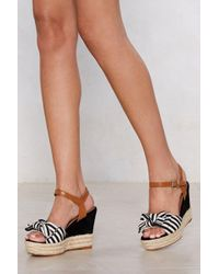 Nasty Gal - Bow Away Striped Wedge - Lyst