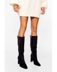 Nasty Gal Knee High Faux Suede Block Heel Boots - Black