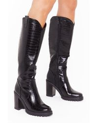 """Nasty Gal """"snake A Hint Faux Leather Knee-high Boots """" - Black"""