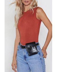 Nasty Gal Want Croc With You Belt Bag - Black