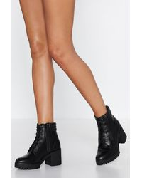 Nasty Gal Faux Leather Heeled Biker Boots - Black