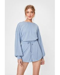 Nasty Gal - Recycled Ribbed Shorts Lounge Set - Lyst